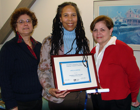 Congratulations to the 2009 Volunter of the Year!  Governance Chair Phyllis Shafer is flanked by Employee Volunteer Connection co-chairs Linda Mass and Helen Vota, during Monday's annual Volunteer Connection luncheon.