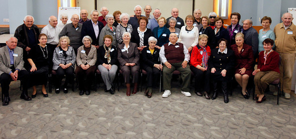 A group of 38 Holocaust survivors pose for a group photograph during a brunch held by the Holocaust, Genocide & Human Rights Education Center at Brookdale Community College where the creation of an archives at the college library was announced. Lincroft,  NJ  11/14/10  12:52:06 PM  Robert Sciarrino/The Star-Ledger