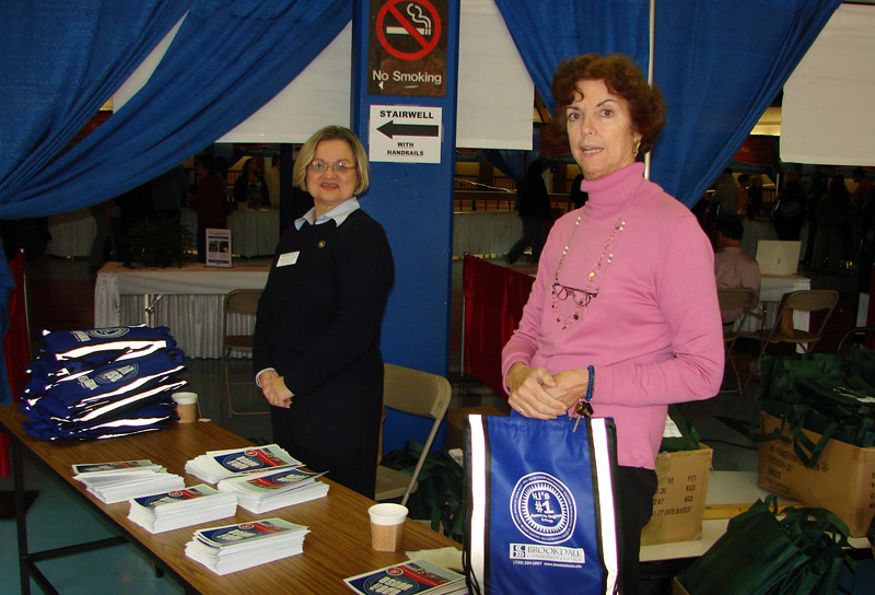 The Police Department's Rosemary Kochman and Counseling's Ellen Hemhauser are shown greeting prospective students and families at the very busy Fall 2009 Open House.