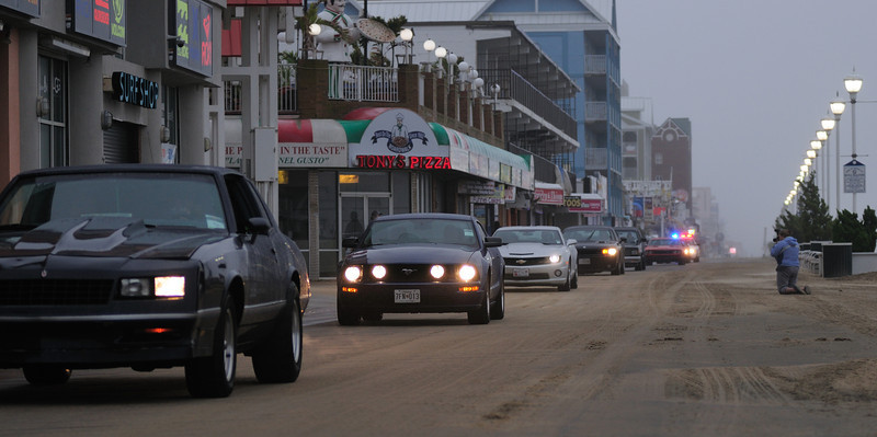 First day cruisers, unbelievably they drove on the boardwalk with salty wet sand blowing................