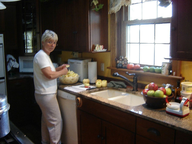 Fall Time <br /> Peeling Apples, Bushel Baskets Full.<br /> Melrose and Golden Delicious mixed