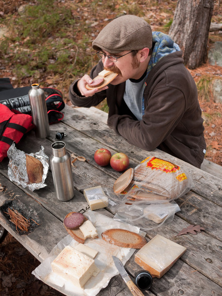 We stopped for lunch at site 401 on Long Lake. Note: all kinds of trash on this site, which we packed out on the way back - lame. Lunch was rye bread, limburger (Oak Grove), gruyere, old cheddar, honeycrisp apples, halva and summer sausage (Cressman's)... oh, and gin