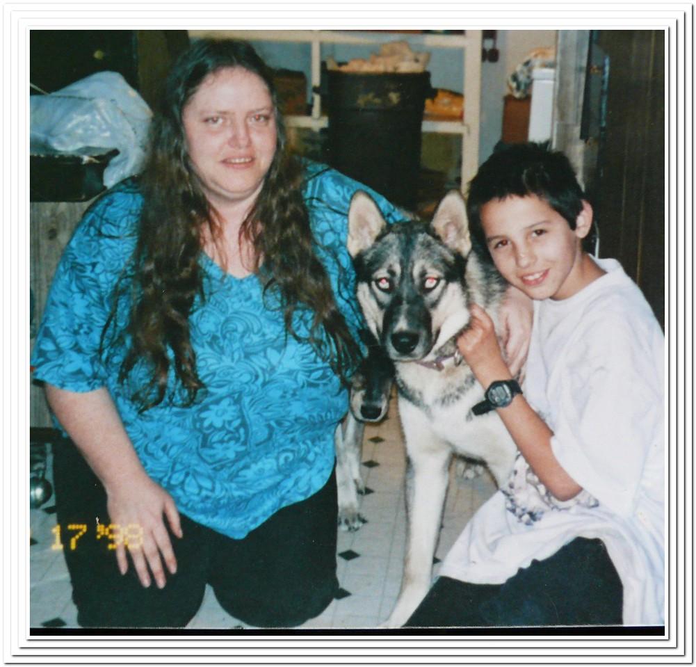 Earlene, Chris & Cobra the dog that saved everyones life