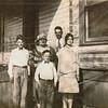 Marshall Ellis, Mamaw Ellis, Lee Ellis, James Ellis, Bess Ellis (Siblings).  Aver Ellis probably taking picture (sibling).  Dressed for church.