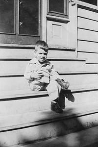"Ralph Lohmann, July 1945.  Caption:  ""Joe on his 4th birthday with complete army uniform"" (""Joe"" = Ralph's nickname)"