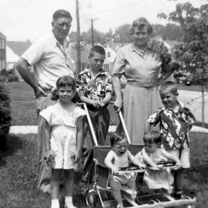 "Lohmann kids (Ralph, Cathy, John, and Bob and Mary) with Gramps and ""Nanny"" Finan (~June 1951)"