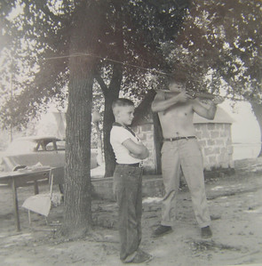 1 28 2014 Tommy and Dad, 1954 at farm CIMG5072