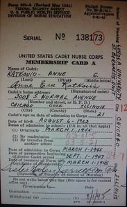 1 30 2014 Anne Ratkovic, US Cadet Nurse Corps card, 1945
