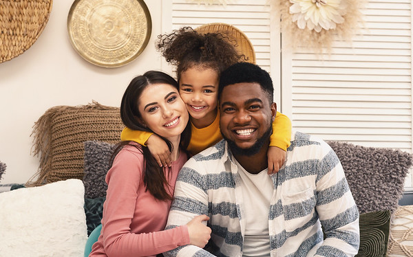 Happy multiracial family portrait, stay at home