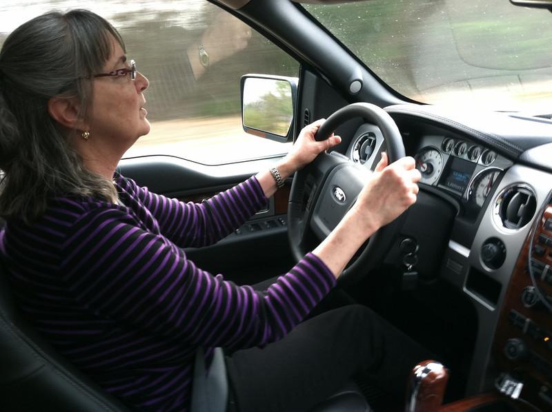 Kathy drives the new truck, Georgia 2011.