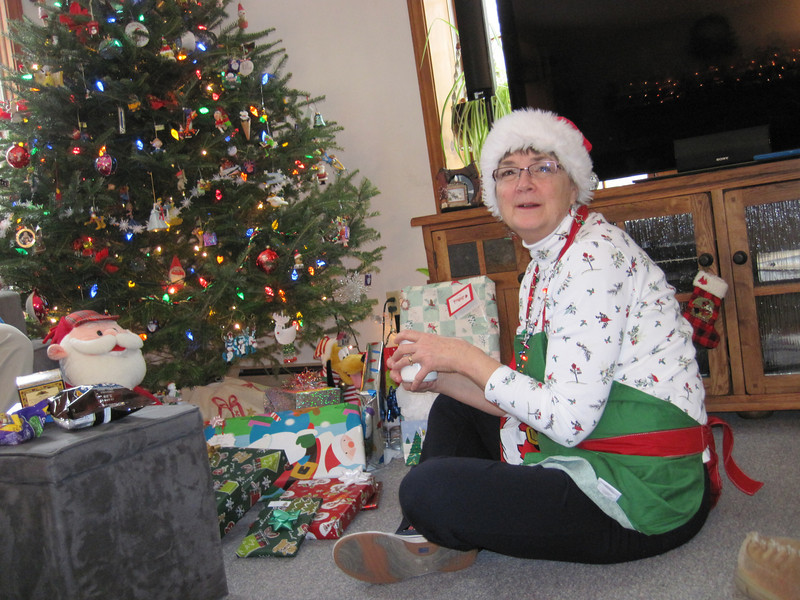 Xmas Morning 2012, the head elf hands out the goodies.