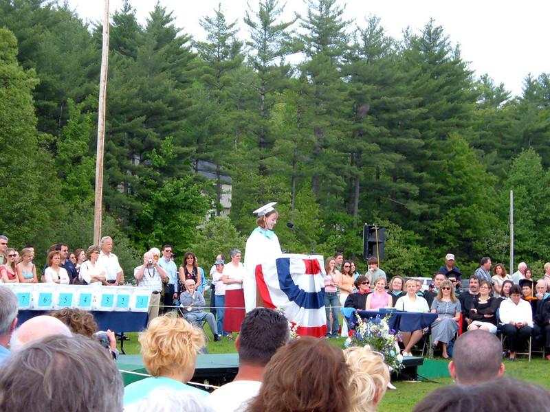 Sarah speaks (Salutatorian) at NMHS 2005 Graduation.