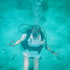 Kathy diving in the Bahamas.