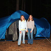 The girls put the tent up.