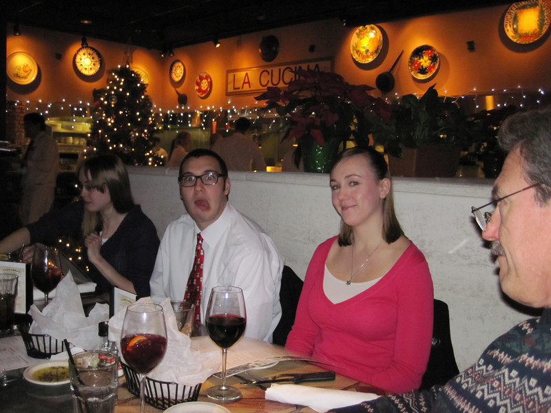 Carabbas Xmas Eve dinner 2012.   Cant believe she married this guy.