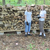 Becky & Mary hard at work on Mom's supply of firewood.  Summer 2010