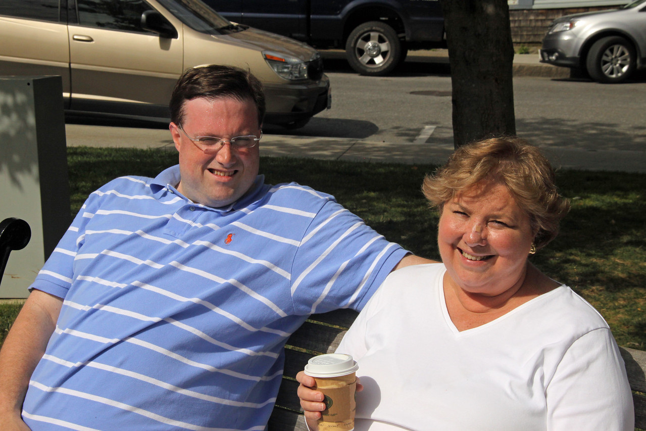 Martha and David in Bar Harbor.  Martha with coffee in hand.