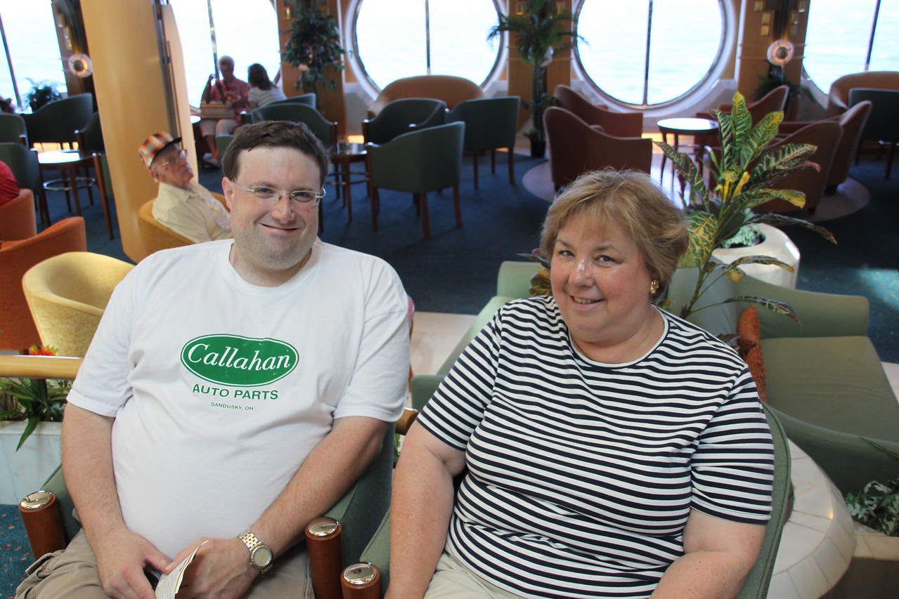 David and Martha Kicking back and relaxing aboard ship.