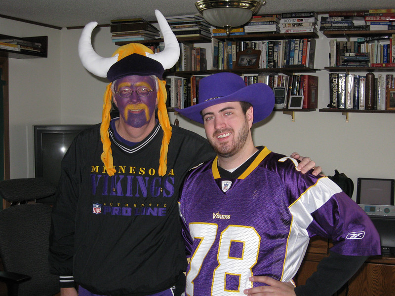 Tom and Jeff. Viking playoff game vs the Eagles.