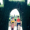 Aggie and Sue with Brian and Laura.  Generalife, Alhambra.  Circa 1973.  Kodachrome 64, Nikon F2 50mm f/1.4