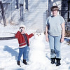 Veronica building a snowman with Aunt Carol.  March 1969.<br /> That's SnowMAN.  Get over it.