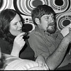 Aggie and I at a party at Dave and Judy Wolf's place.  The wallpaper was shades of orange!!!  Circa 1975.