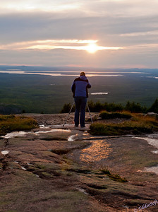 Linda preparing for the perfect sunset shot at Cadillac Mountain in Acadia National Park - Maine
