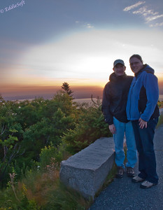 Brian and Linda enjoying the sunrise at Cadillac Mountain in Acadia National Park - Maine.  We are looking pretty happy for having to get up at 3:45am to take in this sunrise.