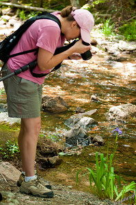 Linda enjoying her outdoor hobby at Acadia National Park, Maine.