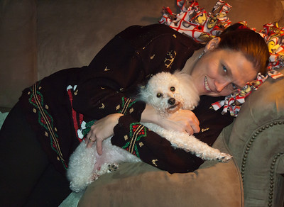 Linda and Rizzi Christmas 2010 - I wonder which dog is the mommy's boy?