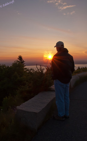 Brian watching the sunrise at Cadillac Mountain in Acadia National Park - supposedly the first point of sun in the US.