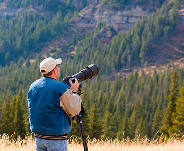 Brian out in Yellowstone Park with the Beast taking pictures of mountain goats way up on the mountainside - 10/2011