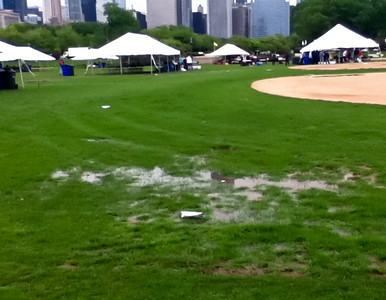 3.5 Corporate Chase Race May 26th, 2011 Chicago IL. 23K people - the ground was completely saturated from the constant days of rain.  Luckily, the rain held off for the actual race, and the 36 degree feels like temperature didn't bother much once the gun went off. - photo courtesy of Sung Pak