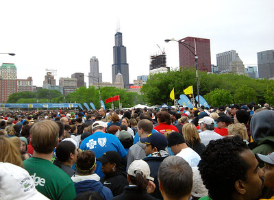 3.5 Corporate Chase Race May 26th, 2011 Chicago IL. 23K people participated and this shot was taken as everyone was staging to start the race.  This picture was taken by a friend of mine who was actually closer to the starting line than I was. Based on my race times I was suppose to start up there in the red flag area, but due to how they handled the staging it was impossible for me to get there - instead I was forced to start a lot further back in the white flag area which was supposed to be for casual runners and walkers.   Photo courtesy of Maria Hornstein