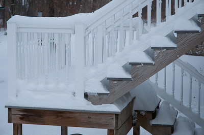 Snow piled up on the steps - can get a feel for how much snow we got looking at the down steps - this was even protected somewhat by the porch overhang.