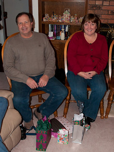 Dan and Joan getting ready to open their presents