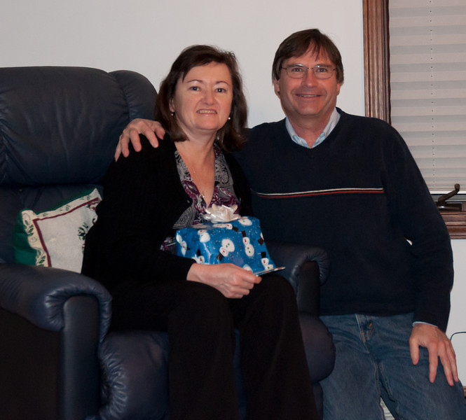 Ron and Eilish opening presents