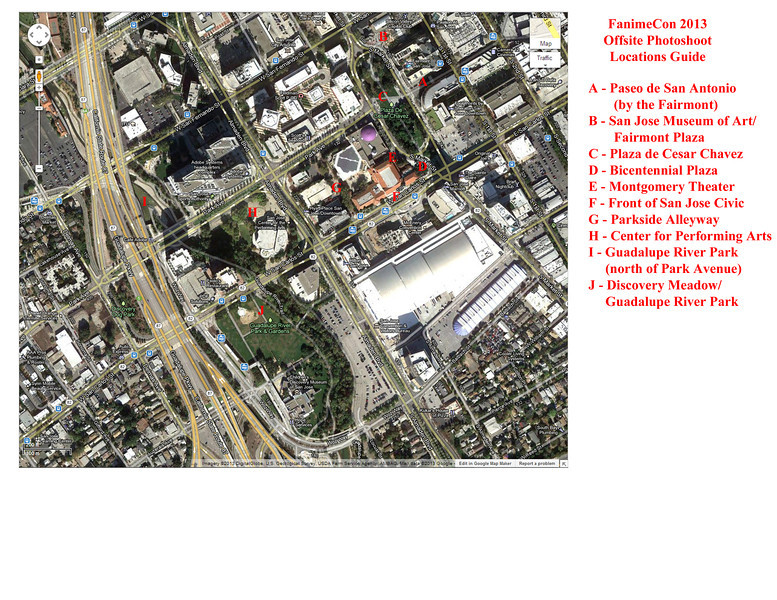 A map noting offsite locations for photoshoots during FanimeCon 2013 in Downtown San Jose, CA.  Map courtesy of Google Maps.