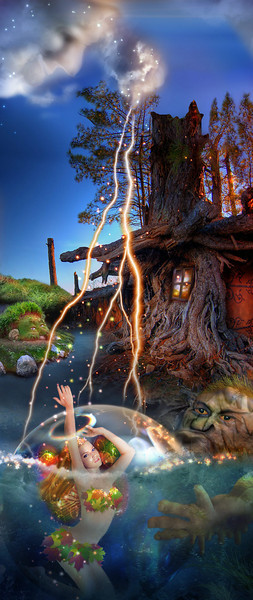 The Mud Monster captured the beautiful Forest Fairy and is hiding her in a magic bubble in the pond beside Mr. Fox's cottage. The Forest Prince is on his way to rescue her, with the help of the Lightening Cloud to guide him.<br /> <br /> ~Original size is best~