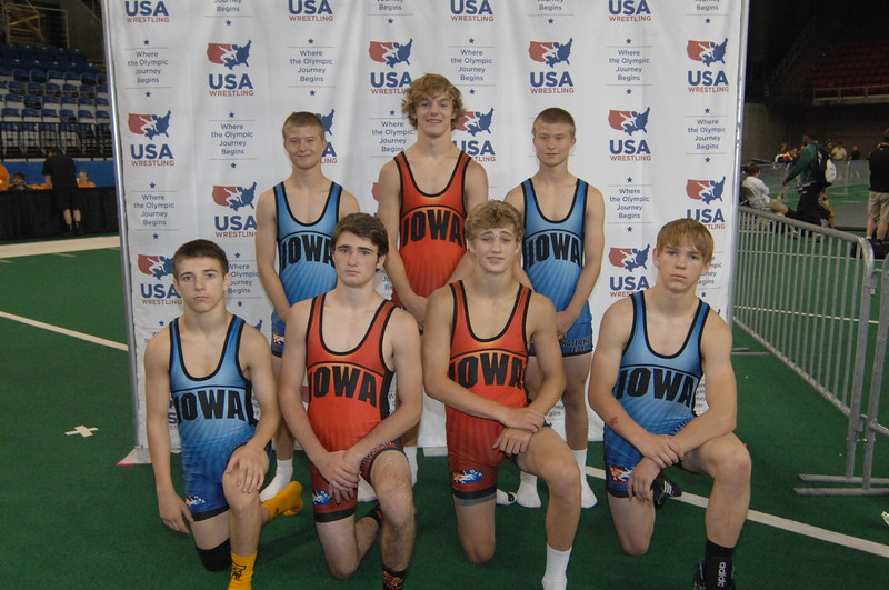 2014 USAW Cadet Greco Nationals<br /> Iowa Cadet Greco All Americans<br /> Front Row L to R: Nathan Lendt,  Ryan Leisure, Billy Higgins, Tristan Johnson <br /> Back Row L to R: Bryce West, Anthony Sherry, Drew West