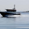 Sjömätningsfartyget Petter Gedda – väger 4,5 ton och är 9 meter x 3.40.