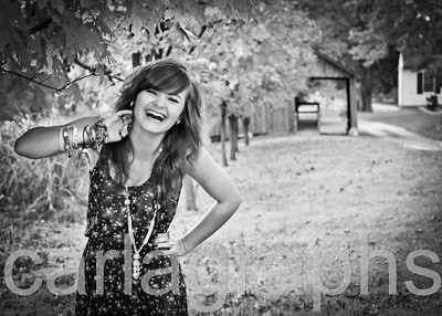 alison laughing half by trees bw-1