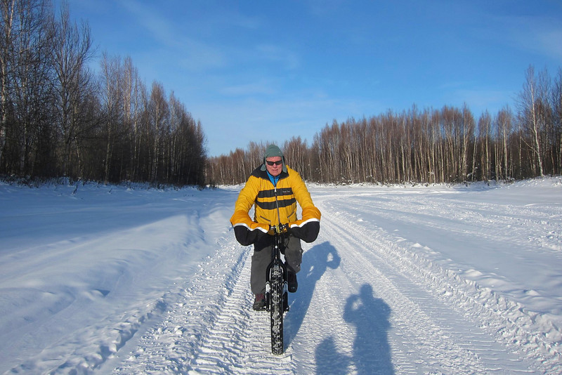 Bill riding on Chena Lake