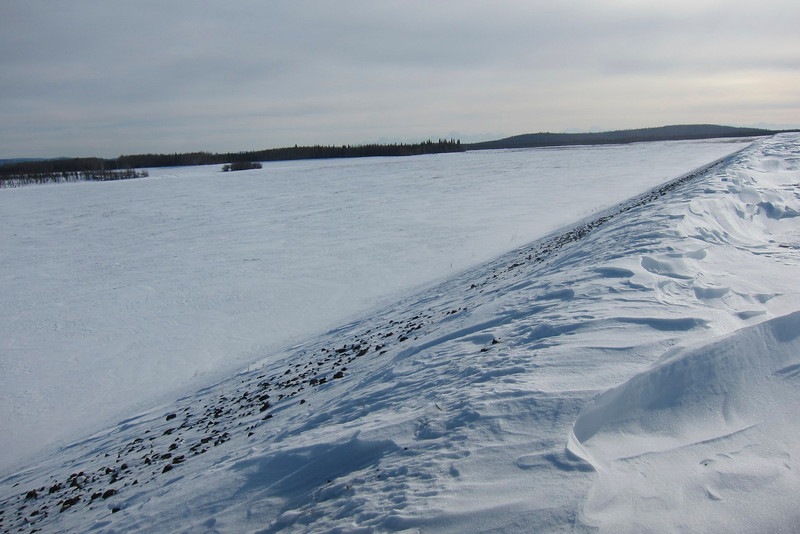 The floodway leading from the dam to the Tanana River as seen from the dike