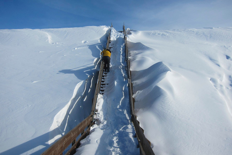 Bill navigating his way to the top of the Chena River Lakes Flood Control Project dike