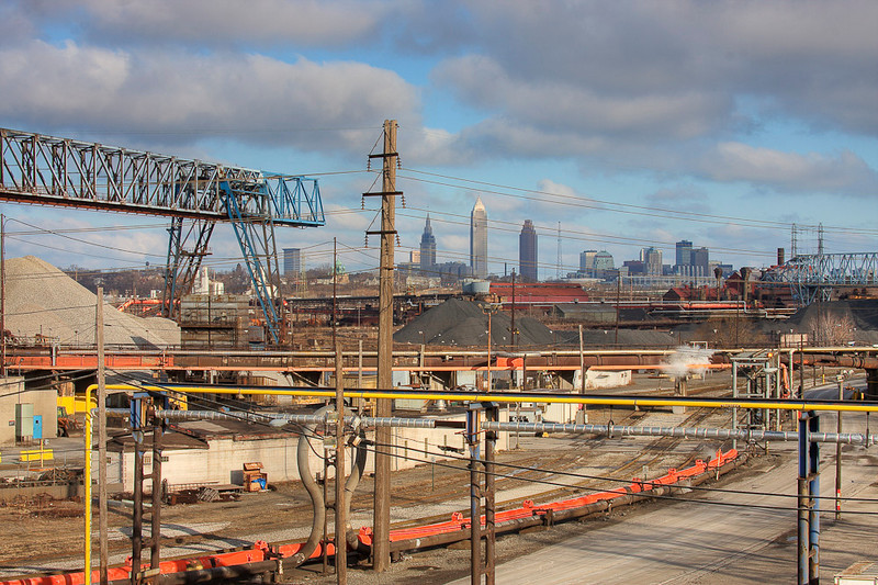 Cleveland Horizon from the Steel yards in Cleveland.  After taking this picture, a security guard told me I was trespassing on private property.  I was told to leave.  Security followed me until I was off the premesis.