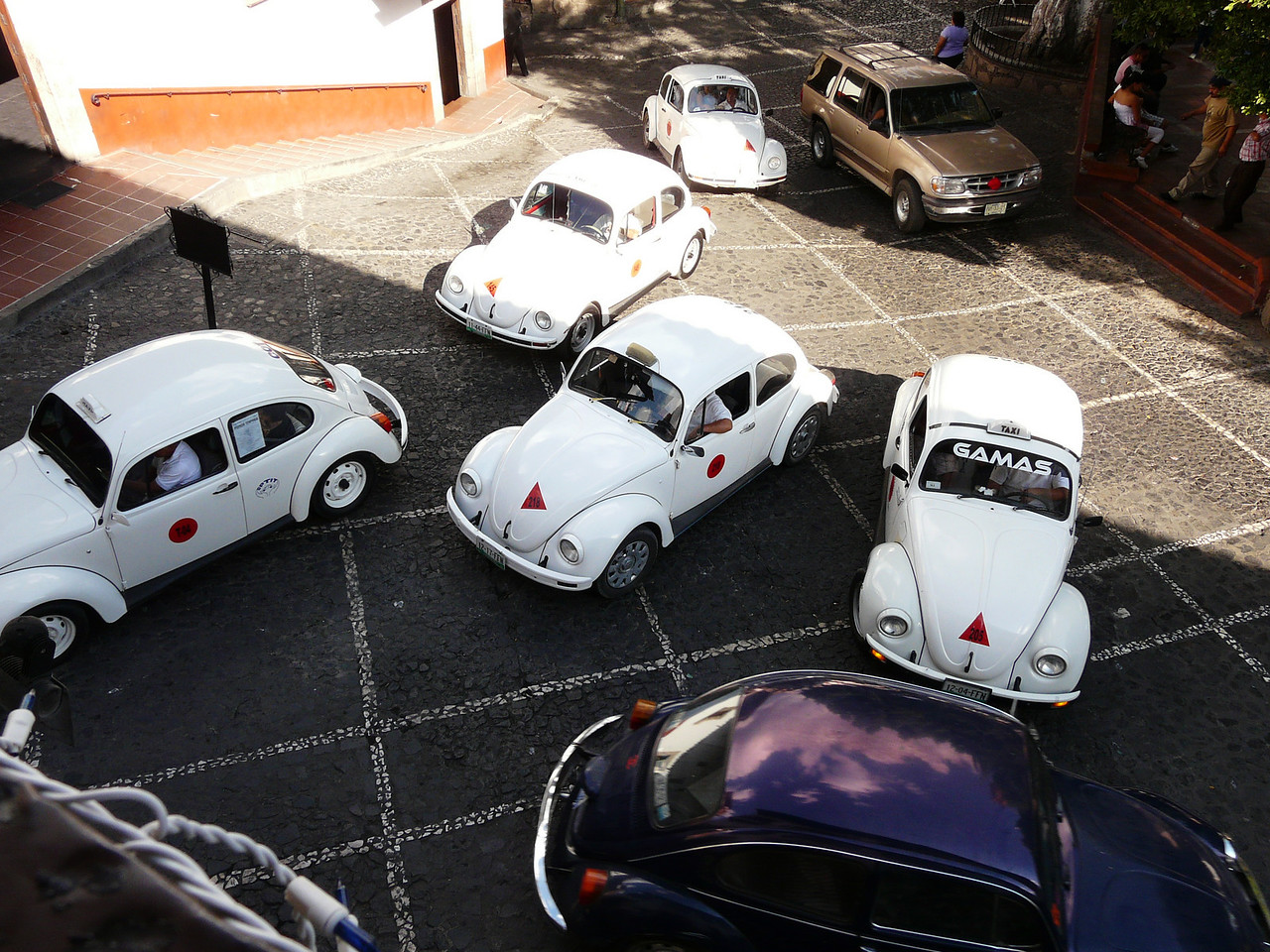 This is not a volkswagon dealership, this is normal traffic, lots of VW taxis, Tasco, Mexico