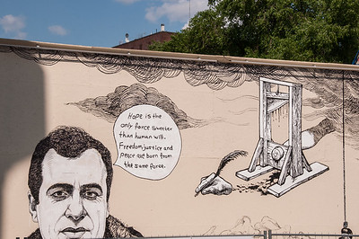 2016.06.01 - Oslo, Norway - outside of the Nobel Peace Center, where they hold the Nobel Peace Prize. This is a portion of the Unknown Number exhibit, a 60-meter-long, 4-meter-tall artwork paying tribute to freedom of speech. The work is painted directly onto the Peace Wall outside the Nobel Peace Center