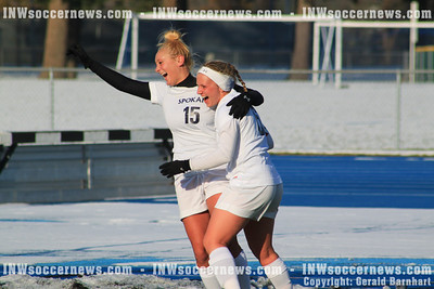 CC Spokane's Rainey Pelzel celebrates NWAACC quarterfinal goal
