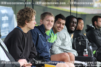 Three of four CC Spokane men's NWAACC All-Stars on the bench in first half
